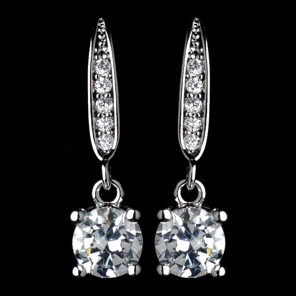 Antique Rhodium Silver Clear Pave Drop With Round Petite CZ Crystal Drop Bridal Wedding Earrings 7786