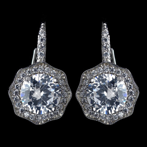 Antique Rhodium Silver Solitaire Encrusted CZ Leverback Bridal Wedding Earrings 7798