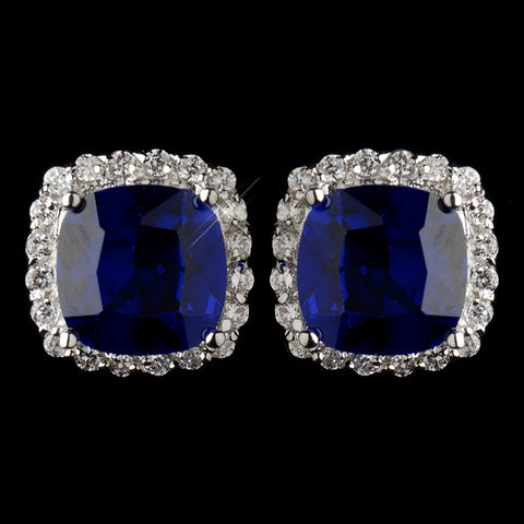 Antique Silver Rhodium Sapphire & Clear Cushion CZ Crystal Cut Stud Bridal Wedding Earrings 7851