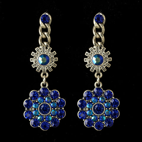 Rhodium Blue & AB Flower Rhinestone Dangle Bridal Wedding Earrings 82044