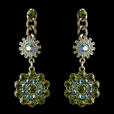 Rhodium Olive Green & AB Flower Rhinestone Dangle Bridal Wedding Earrings 82044