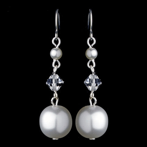 Pearl & Swarovski Crystal Bead Dangle Bridal Wedding Earrings 8355
