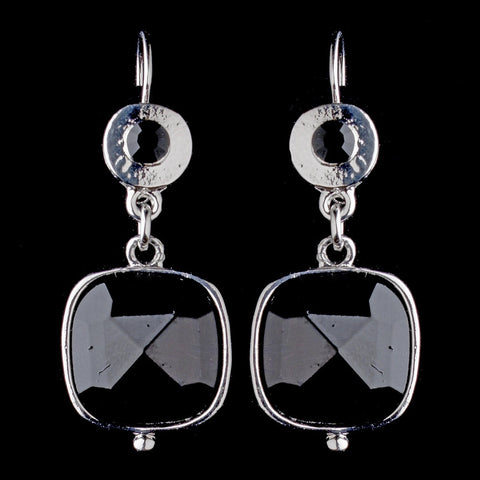 Antique Silver Black Crystal Drop Bridal Wedding Earrings 8402