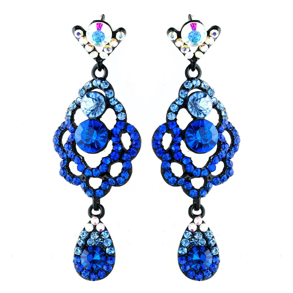 Four Tone Blue Mix on Black Chandelier Earring Set 8540