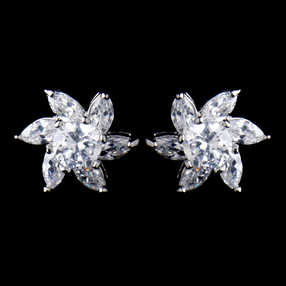 Antique Rhodium Silver Clear CZ Crystal Flower Stud Bridal Wedding Earrings 8576