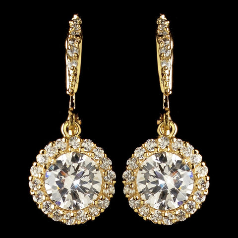 Gold Clear CZ Crystal Pave Circle Drop Leverback Bridal Wedding Earrings 8582