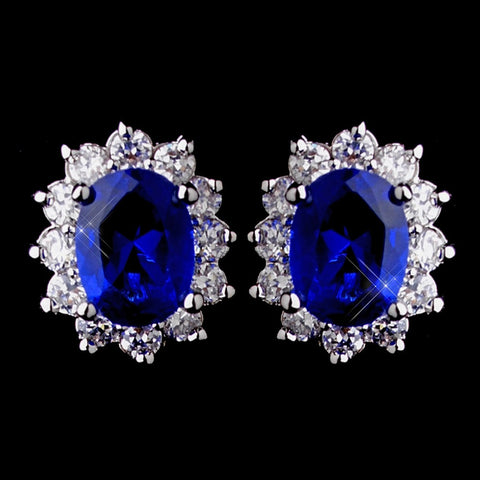 Princess Kate Middleton Inspired Silver Sapphire Blue or Clear CZ Bridal Wedding Earrings 8625