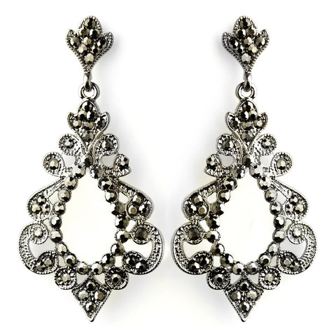 Antique Silver Smoked Rhinestone Chandelier Bridal Wedding Earrings 8688