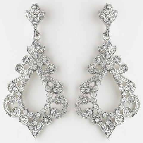 Antique Silver Clear Rhinestone Chandelier Bridal Wedding Earrings 8688