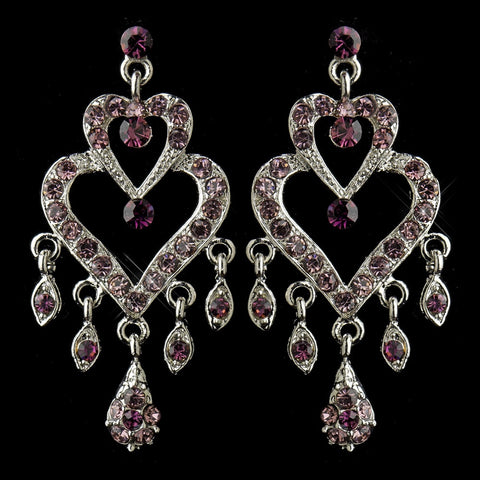 Antique Silver Amethyst Rhinestone Heart Chandelier Bridal Wedding Earrings 8689
