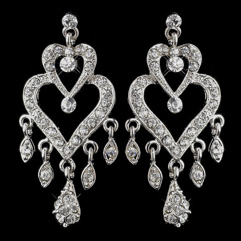 Antique Silver Clear Crystal Rhinestone Chandelier Bridal Wedding Earrings 8689