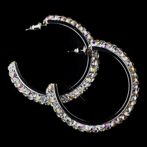 Antique Silver AB Hoop Bridal Wedding Earrings 8707