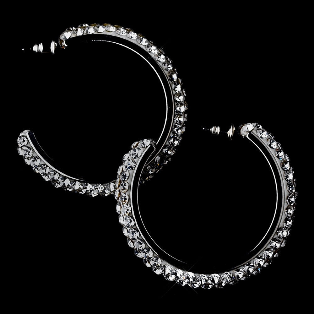 Antique Silver Black Diamond Hoop Bridal Wedding Earrings 8707