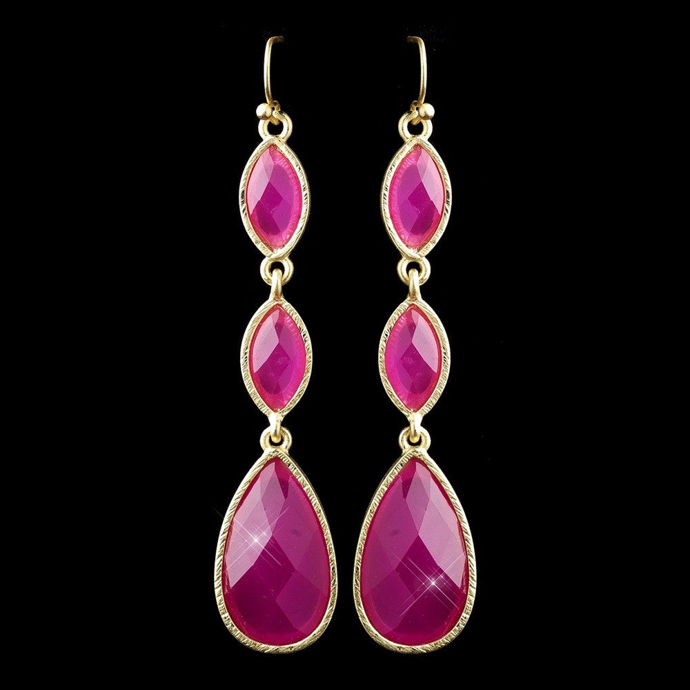 Gold Fuchsia Dangle Bridal Wedding Earrings 8840