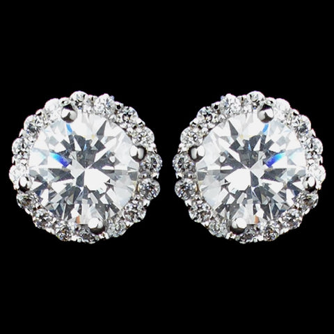 Rhodium Clear Mini Pave Round CZ Stud Bridal Wedding Earrings 8846