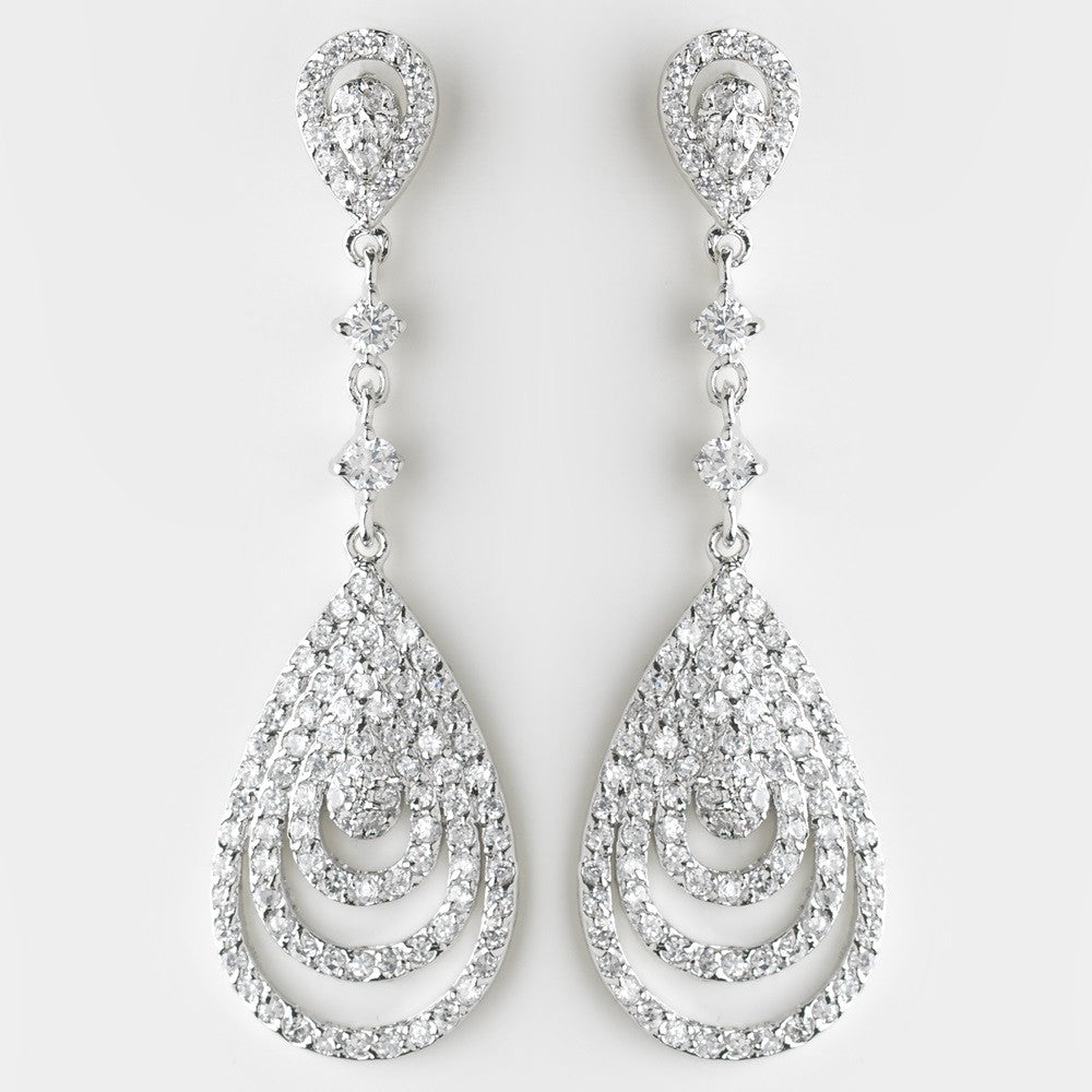 Antique Silver Clear CZ Crystal Drop Bridal Wedding Earrings 8977
