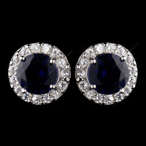 Antique Silver Rhodium Sapphire CZ Crystal Stud Bridal Wedding Earrings 9065