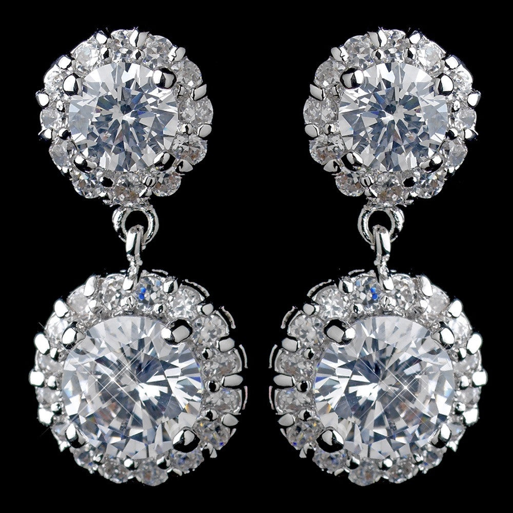Antique Rhodium Silver CZ Crystal Drop Bridal Wedding Earrings 9115
