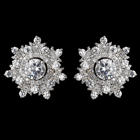 Rhodium Clear CZ Crystal Round Snowflake Stud Bridal Wedding Earrings 9209