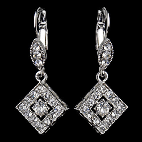 Antique Silver Clear Austrian Crystal Drop Bridal Wedding Earrings 9245