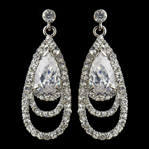 Antique Silver Clear CZ Crystal & Rhinestone Drop Bridal Wedding Earrings 9247