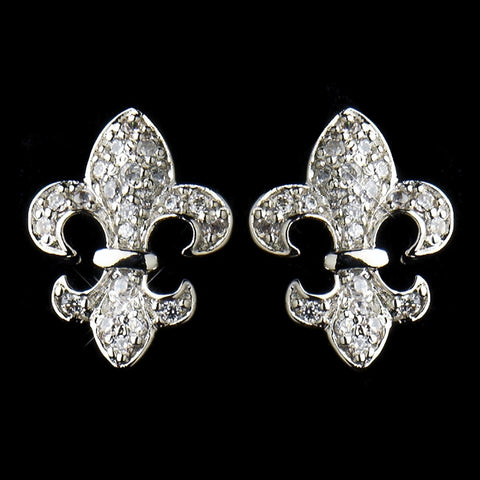 Silver Clear CZ Crystal Fleur De Lis Stud Bridal Wedding Earrings 9249
