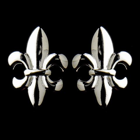 Silver Fleur De Lis Stud Bridal Wedding Earrings 9258