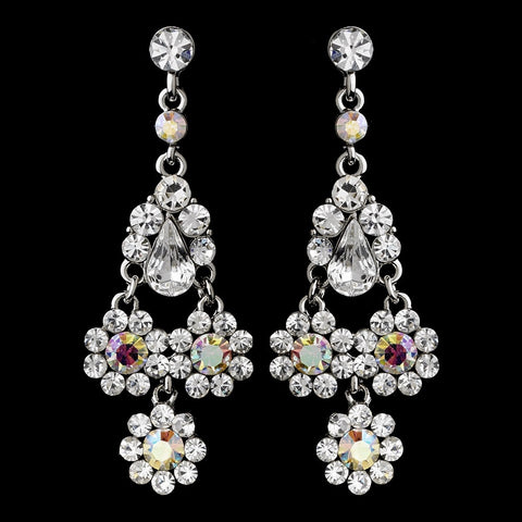 AB & Clear Rhinestone Chandelier Bridal Wedding Earrings 940