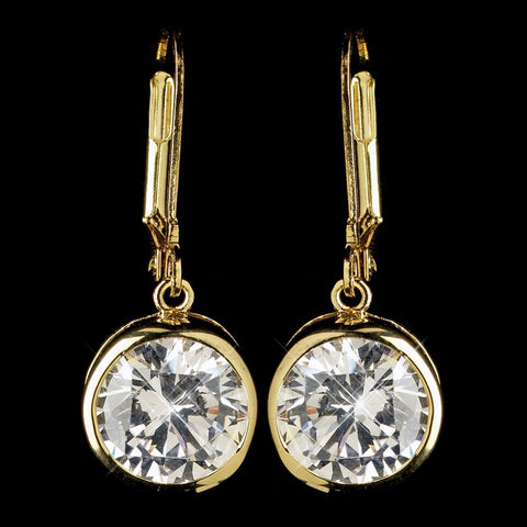 Gold Clear Round CZ Crystal Leverback Drop Bridal Wedding Earrings 9400