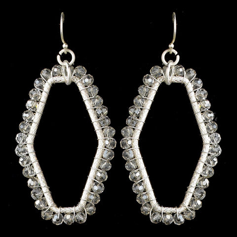 Silver Matte Modern Dangle Bridal Wedding Earrings 9504 Accented w/ Crystal Beads