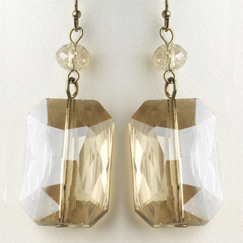 Gold Light Topaz Faceted Glass Crystal Drop Bridal Wedding Earrings 9509