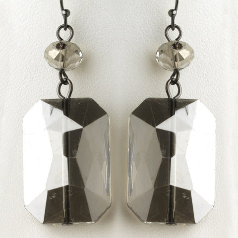 Hematite Smoke Faceted Glass Crystal Drop Bridal Wedding Earrings 9509