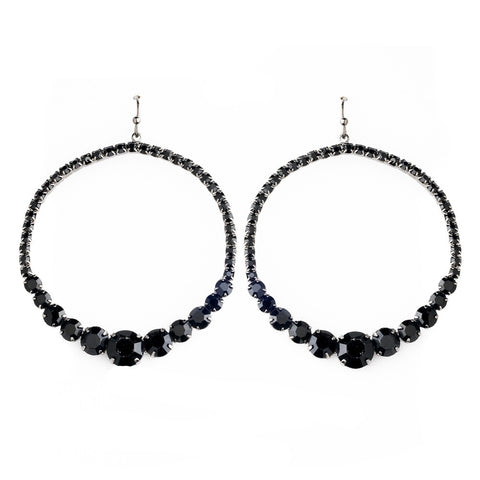 Black Rhinestone Hoop Bridal Wedding Earrings E 951