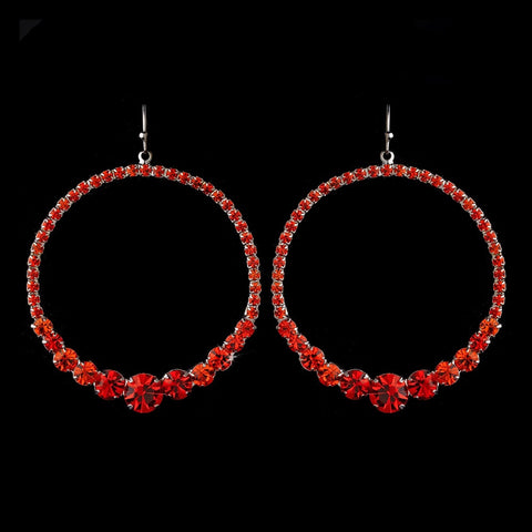 Red Rhinestone Hoop Bridal Wedding Earrings E 951