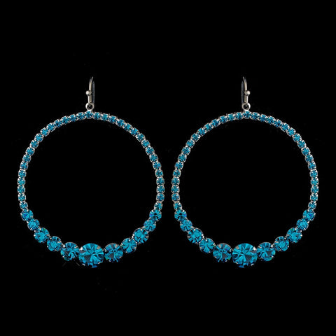 Turquoise Rhinestone Hoop Bridal Wedding Earrings E 951