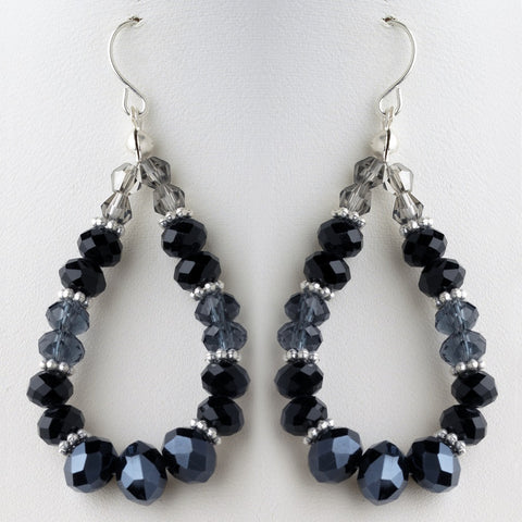 Black & Blue Mix Faceted Glass Stone Hoop Bridal Wedding Earrings 9523