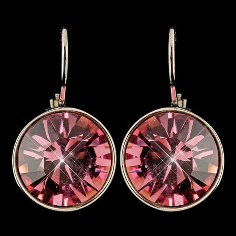 Silver Rose Swarovski Crystal Element Round Leverback Bridal Wedding Earrings 9600