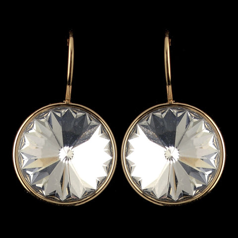 Gold Clear Swarovski Crystal Element Large Round Leverback Bridal Wedding Earrings 9603