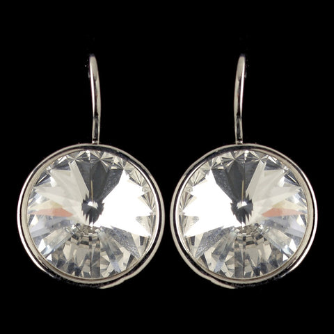 Silver Clear Swarovski Crystal Element Large Round Leverback Bridal Wedding Earrings 9603