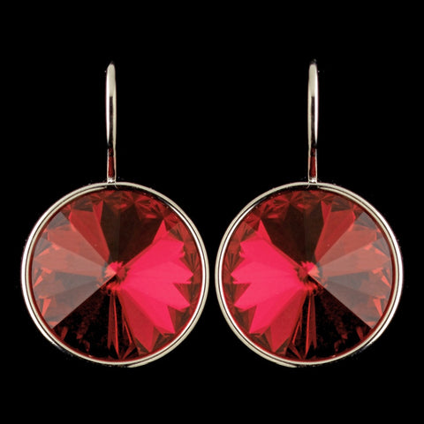 Silver Red Swarovski Crystal Element Large Round Leverback Bridal Wedding Earrings 9603