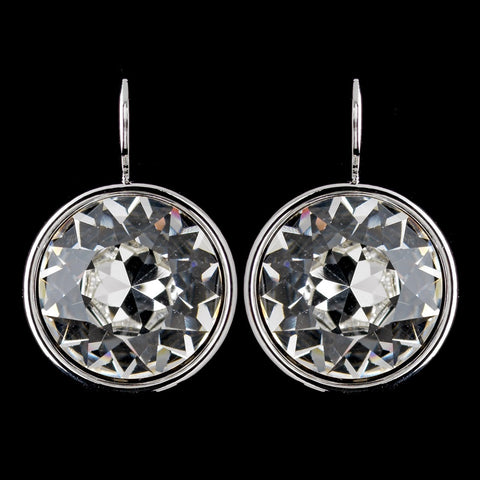 Silver Crystal Clear Jumbo Solitaire Round Swarovski Crystal Leverback Bridal Wedding Earrings