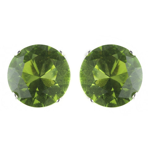 9mm Sterling Silver Round Peridot CZ Crystal Stud Bridal Wedding Earrings