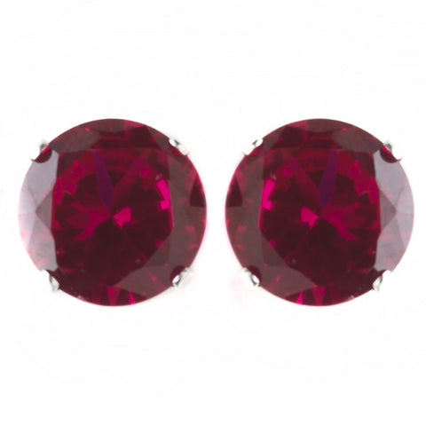 9mm Sterling Silver Round Ruby CZ Crystal Stud Bridal Wedding Earrings