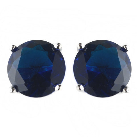 9mm Sterling Silver Round Sapphire CZ Crystal Stud Bridal Wedding Earrings