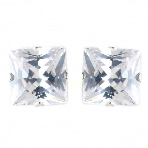 7mm Sterling Silver Princess Clear CZ Crystal Stud Bridal Wedding Earrings