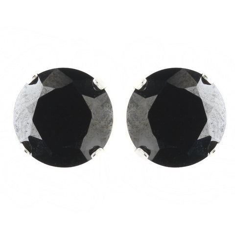 8mm Sterling Silver Round Black CZ Crystal Stud Bridal Wedding Earrings