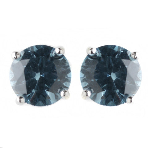 8mm Sterling Silver Round Denim Blue CZ Crystal Stud Bridal Wedding Earrings