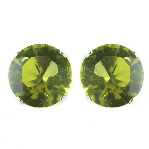 8mm Sterling Silver Round Peridot AB CZ Crystal Stud Bridal Wedding Earrings