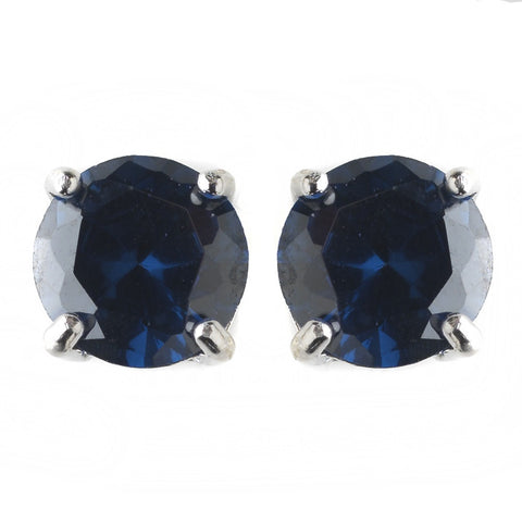 8mm Sterling Silver Round Sapphire CZ Crystal Stud Bridal Wedding Earrings