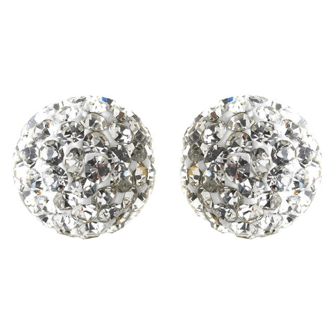 9mm Sterling Silver White Crystal Ball Stud Bridal Wedding Earrings